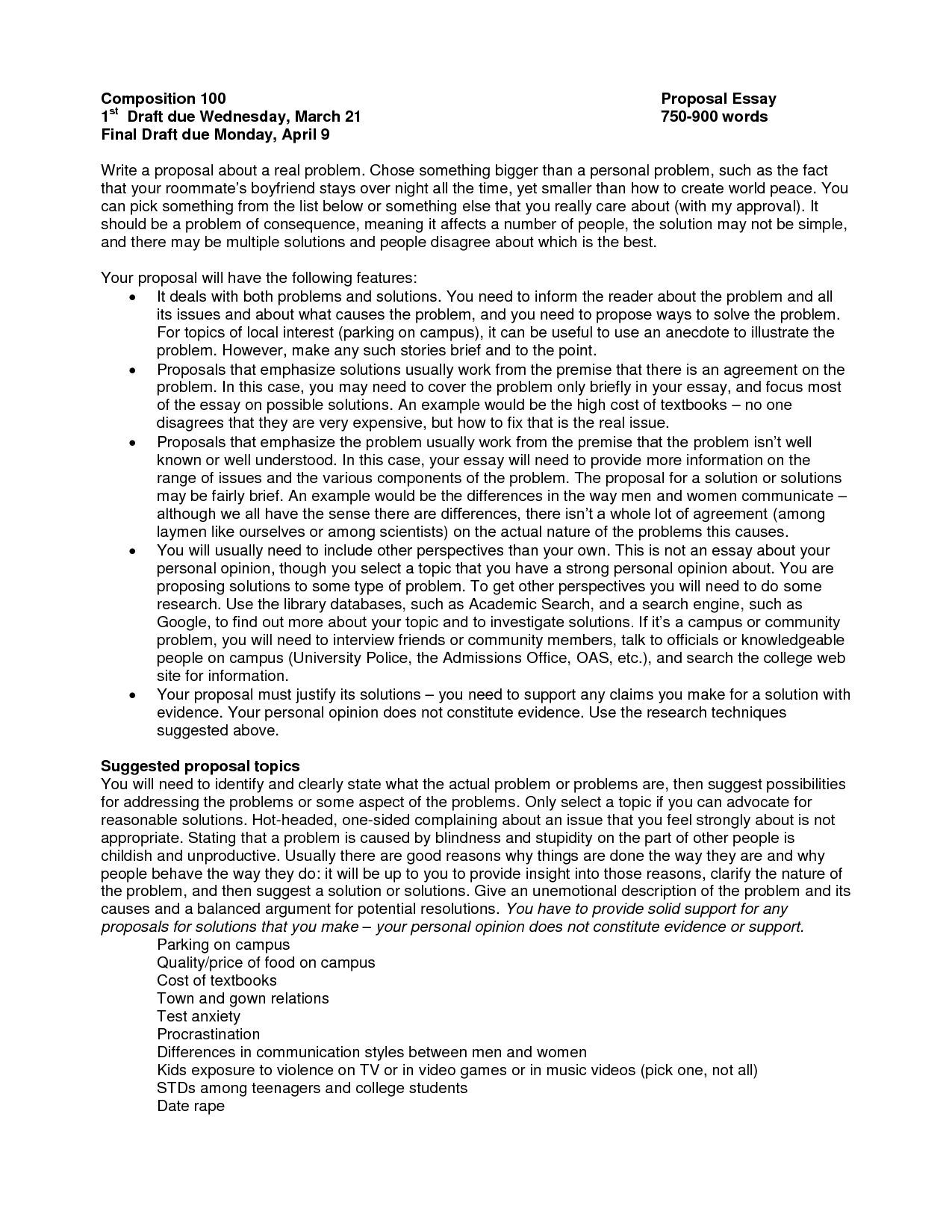proposal essay example