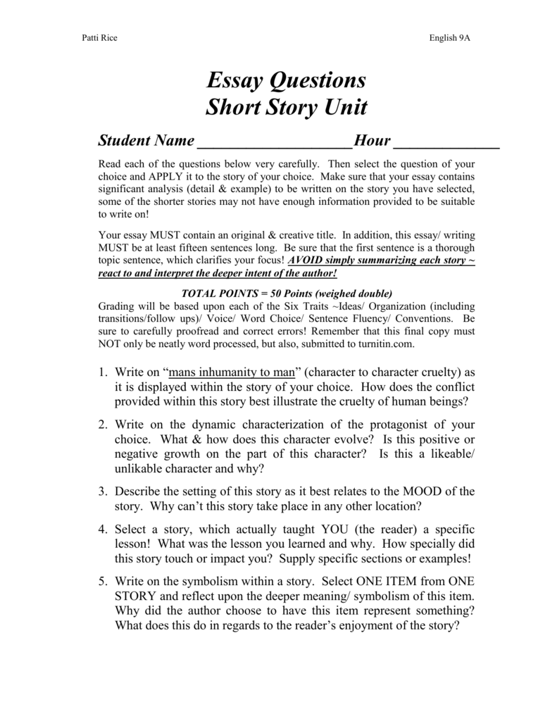 example of a short story essay