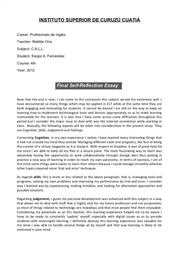 008 Reflective Essay Format Selfs Mla Sample Sergio Finalself