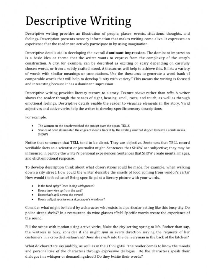 002 Elements Of Descriptive Essay Example Ll Vi Elementsoftheessay
