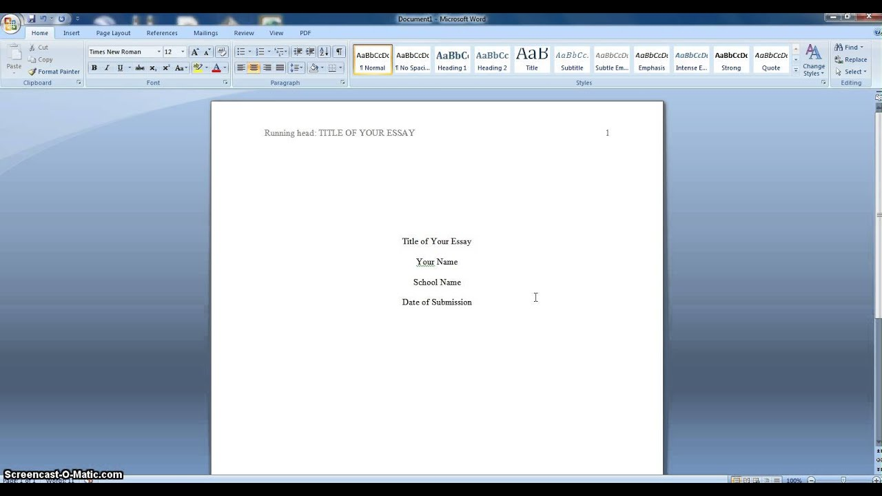 how to write a header in apa format