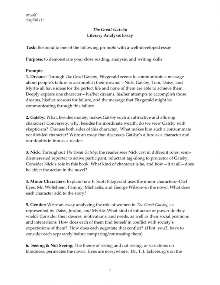 015 The Great Gatsby Themes Essay Example ~ Thatsnotus