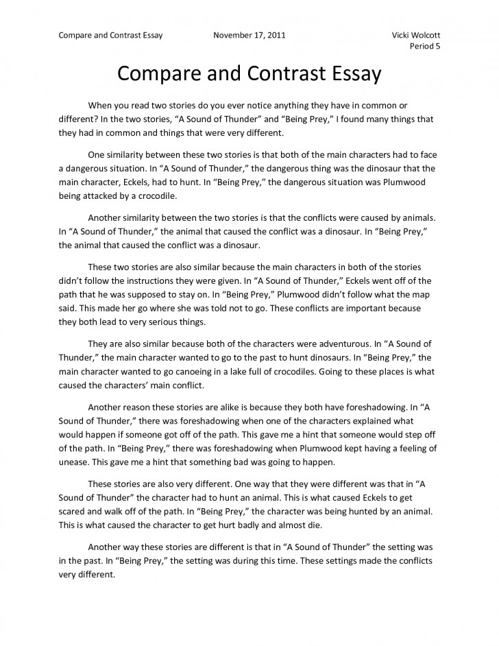 014 Writing Comparison Essay Thesis Example Compare And Contrast