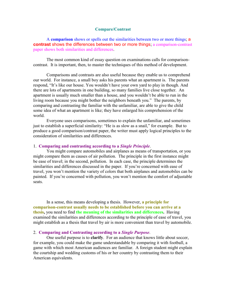 examples of compare and contrast essay