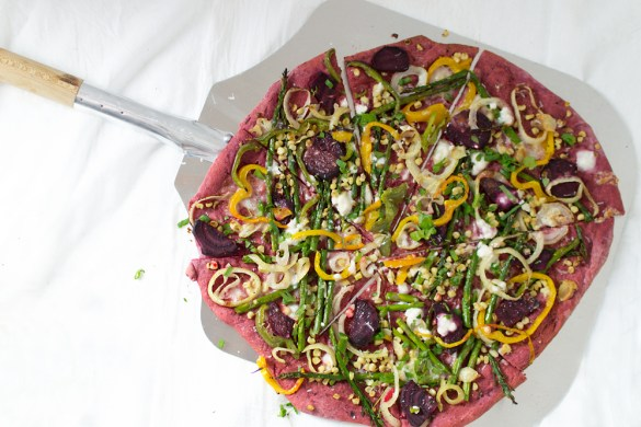 Loved the way this beet pizza crust turned out, it tasted amazing, and I pretty much added everything from the fridge that I needed to use. It turned out SUPER tasty!