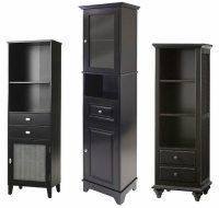 Black wood linen tower cabinets  ThatsTheStuff.net