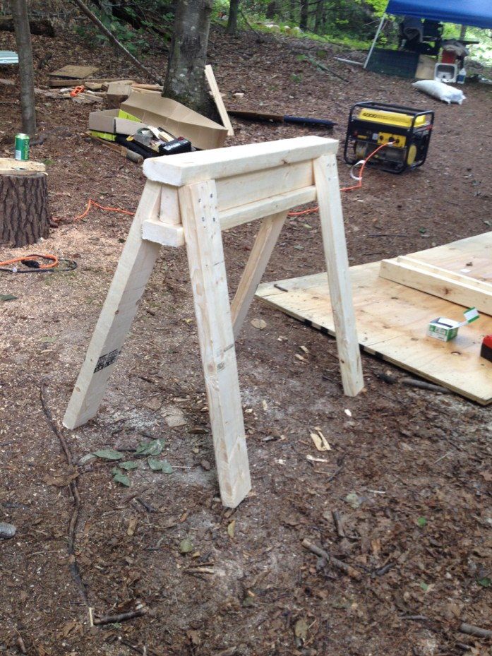 I-beam design for sturdy and simple sawhorses