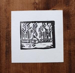 yurt print vermont woods