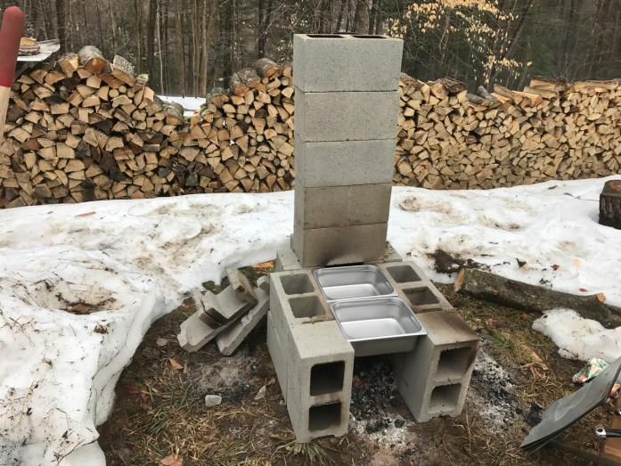 cheap maple syrup evaporator with cinder blocks