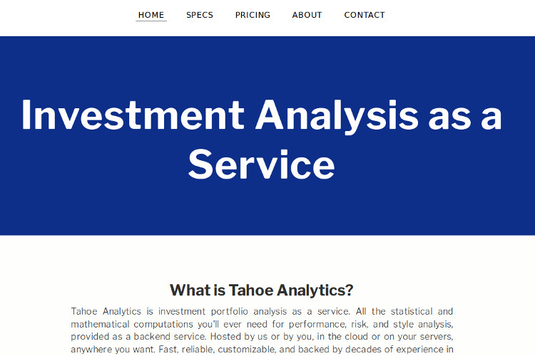 GreaterThanZero \u2014 Tahoe Analytics Investment Analysis as a Service - investment analysis