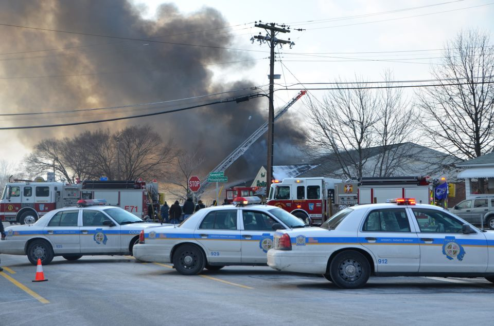 Baltimore County Police at fire scene on March 15 in Essex, Md.