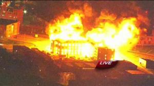 Senior center fire at Gay and Federal Streets.  Photo from WBAL
