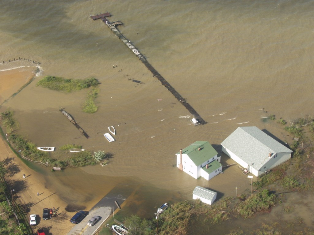 Wicomico River off of the Potomac River took a direct hit as the hurricane crossed Virginia. This view is of Quade's Store at Bushwood Wharf. The store, shown at right, is built high off the water and suffered little damage.