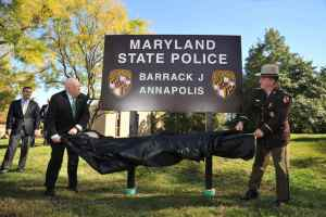 Hogan features Maryland State Police sign in Annapolis