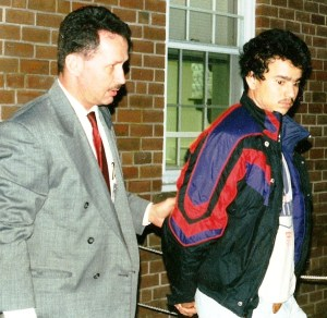 St. Mary's Sheriff's Deputy Julian Schwab with a suspect in another case.