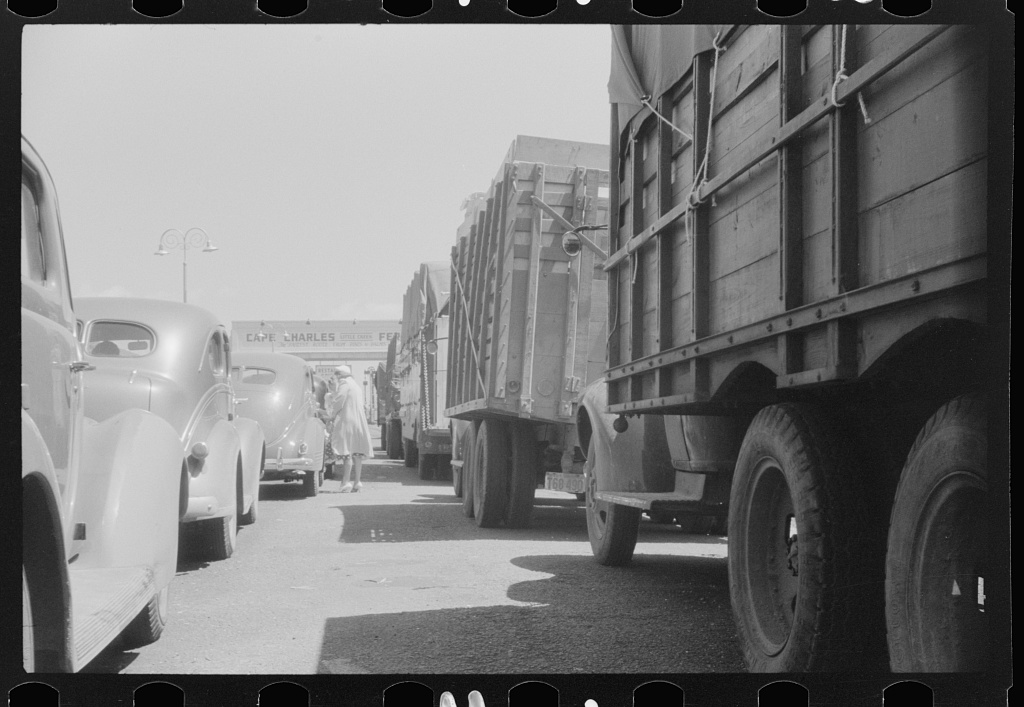 Cars and trucks waiting at the Little Creek terminal to travel on the Cape Charles Virginia Ferry 1940 Photo by Jack Delano