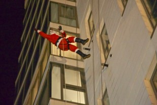 Santa abseils to The DOCK Cafe