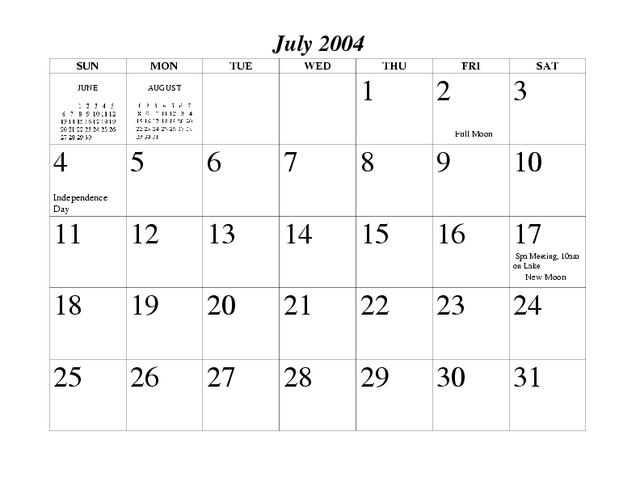 2004 Spectacle Pond Calendar