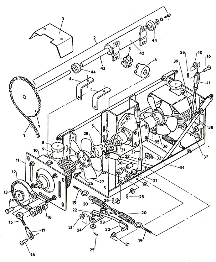 Drive Assembly- Model 1210 1985 Grasshopper Lawn Mower Parts