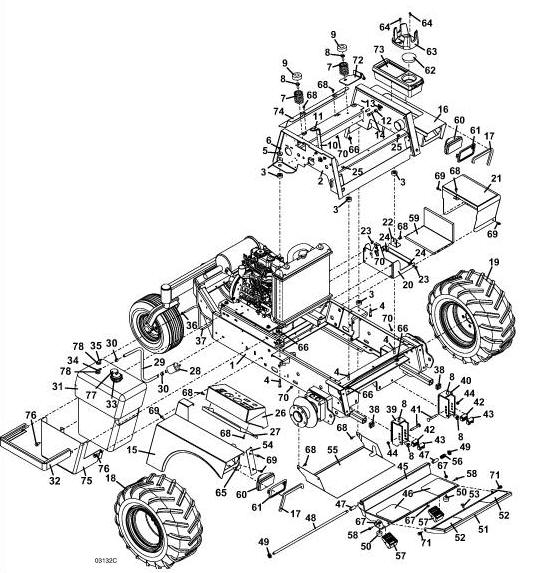722D2 Grasshopper Mower - Tractor Assembly Diagram  Parts List