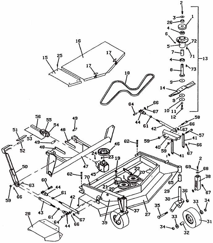 Model 2144 Front Mount Deck, 1989- Grasshopper Mower Parts Diagrams