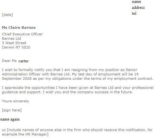 Sample Of Resignation Letter With Regret | Job Resumes Pdf
