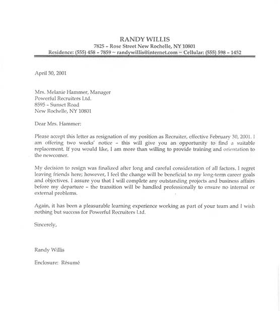 Resignation Letter Sample Letter of Resignation, Examples, Format