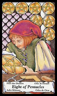 Betekenis Tarotkaart  Pentakels Acht