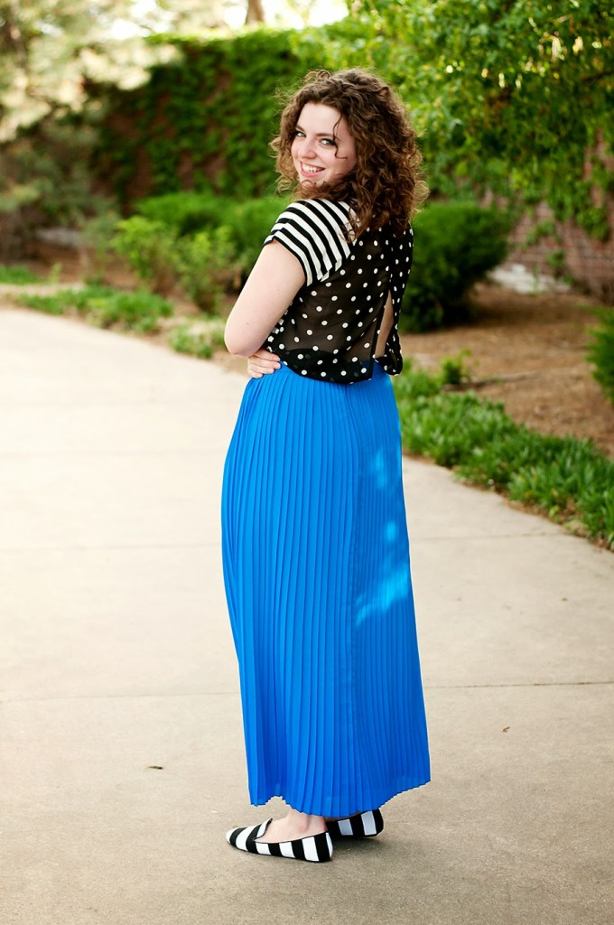 striped and polka dot top with maxi skirt