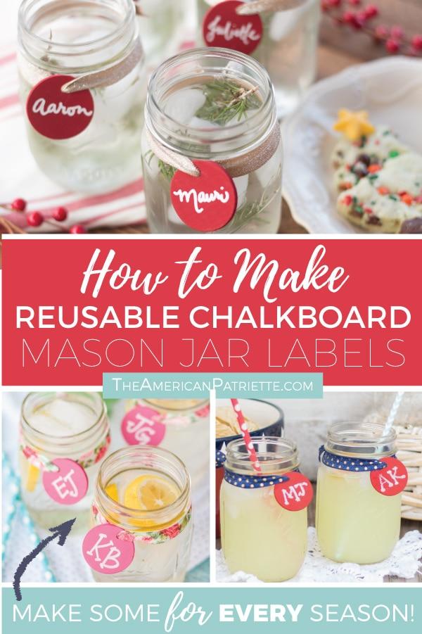 DIY Reusable Chalkboard Mason Jar Drink Labels - The American Patriette