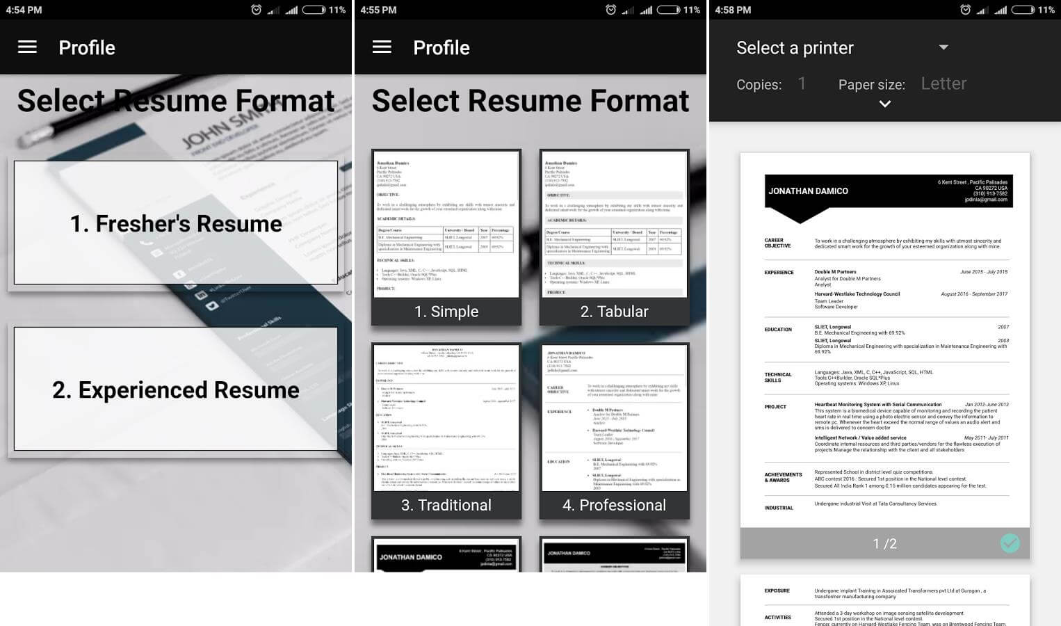 free resume builder pdf formats cv maker templates