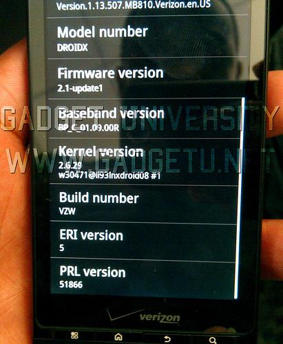 Droid X model number and android 2.1