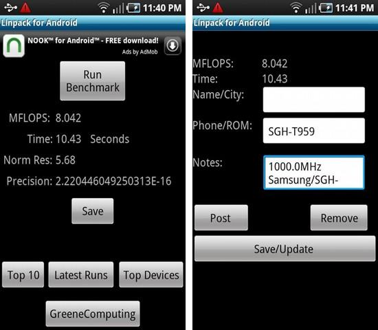 Linpack for Android beanchmark tool