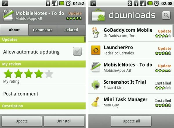 Android 2.1 Market Update