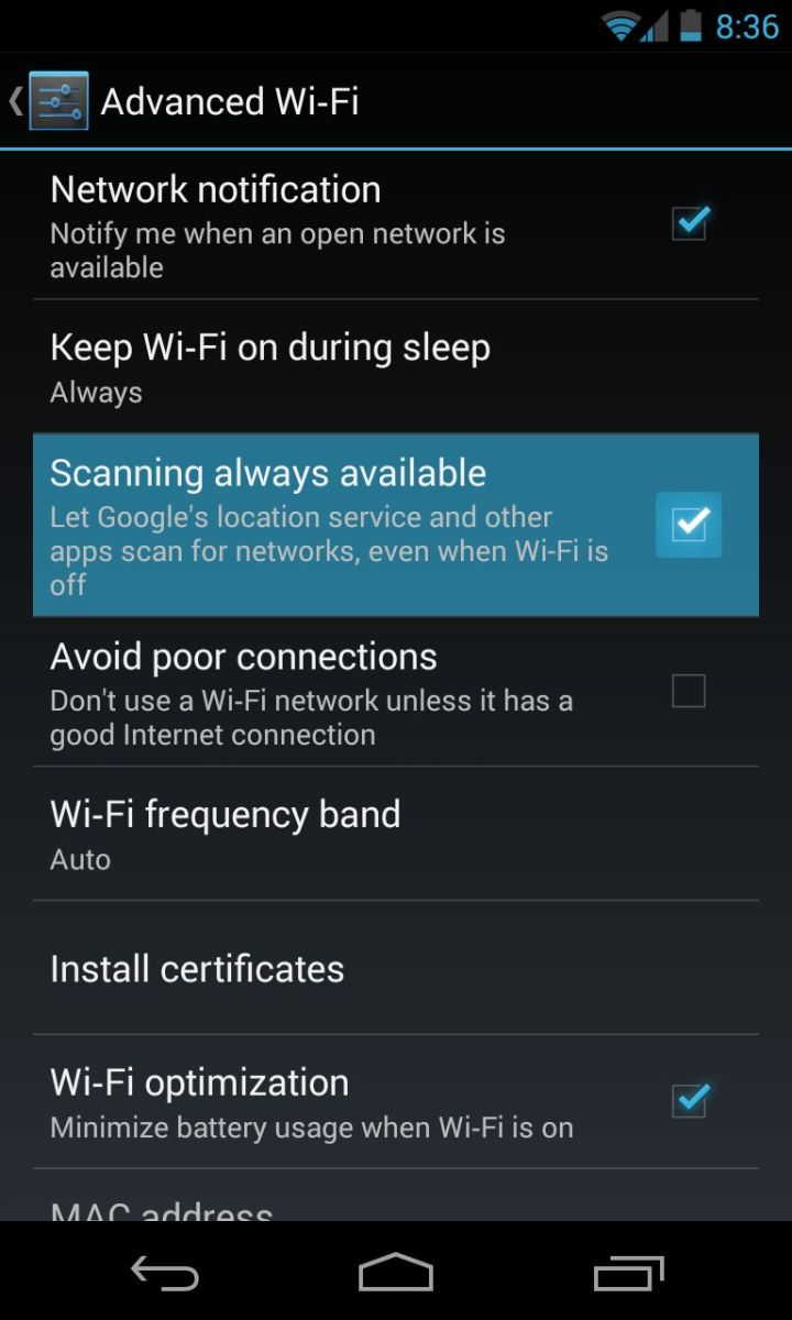 Android 4.3 WiFi Scanning