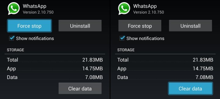Whatsapp clear database