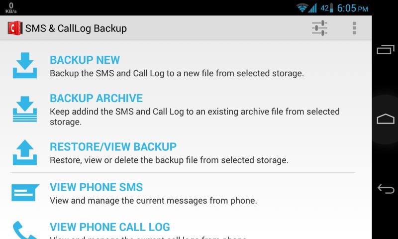 SMS and Call Log Backup