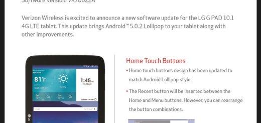 Verizon LG G Pad 10.1 Android 5.0.2 Update