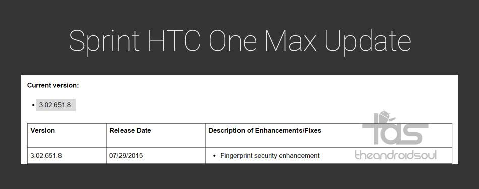 Sprint HTC One Max OTA Update
