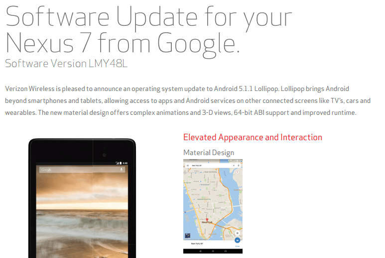 Verizon Nexus 7 5.1.1 update