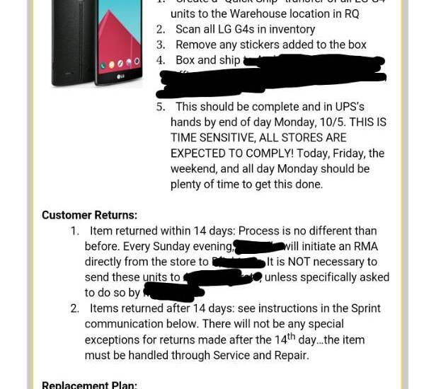 Sprint LG G4 recall