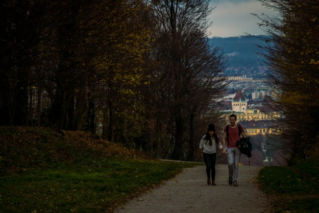 A couple walking near the Schönbrunn Palace