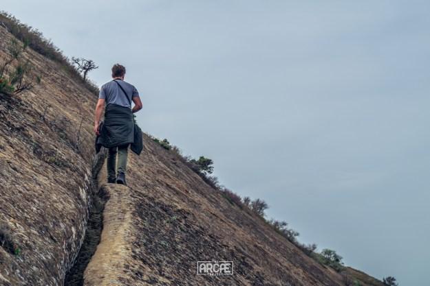 Precariously walking up the hill