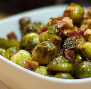 brussel sprouts with bacon, shallots and balsamic vinegar