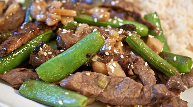 Asian Five Spice Sesame Beef and Sugar Snap Peas