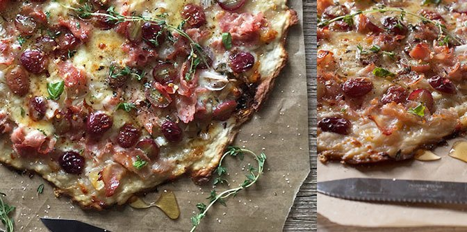 Rustic Pizza with Ham, Grapes, Shallots, Honey & Thyme