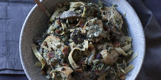 Chicken, Spinach & Mushroom Fettuccine Alfredo