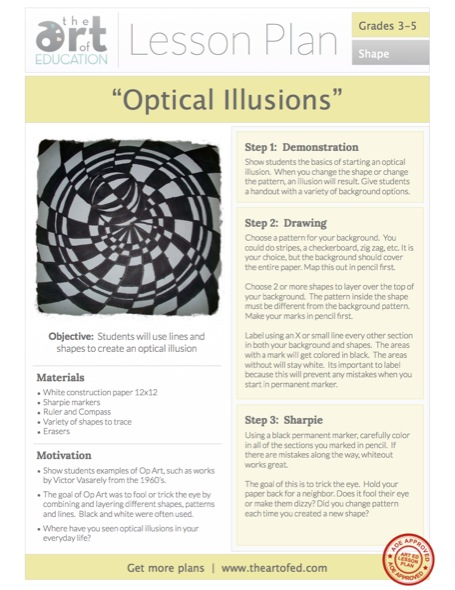 Op Art - Optical Illusions Free Lesson Plan Download - The Art of Ed