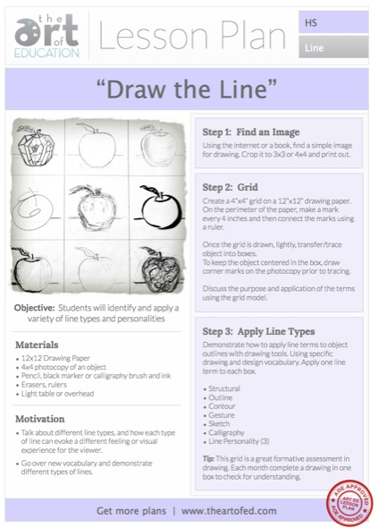 Drawing the Line Free HS Lesson Plan Download - The Art of Ed