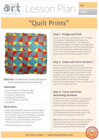 Quilt Prints Free Lesson Plan Download - The Art of Ed